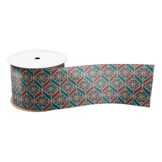 Teal, Maroon, Beige Ethnic Floral Pattern Satin Ribbon