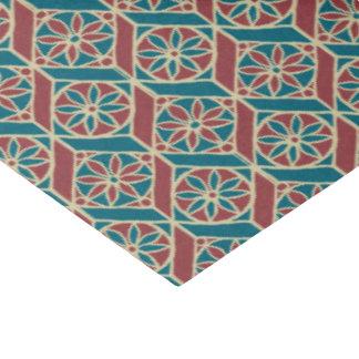Teal, Maroon, Beige Ethnic Floral Pattern Tissue Paper