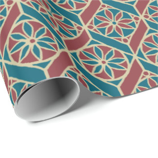 Teal, Maroon, Beige Ethnic Floral Pattern Wrapping Paper