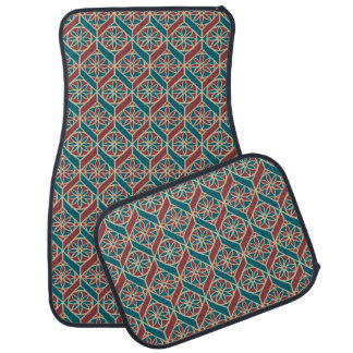 Teal Maroon Beige Ethnic Pattern Flowers, Chevrons Car Mat