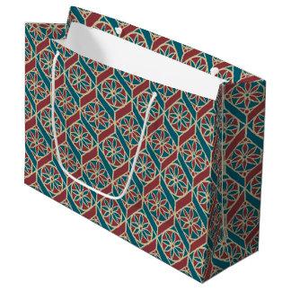 Teal Maroon Beige Ethnic Pattern Flowers, Chevrons Large Gift Bag