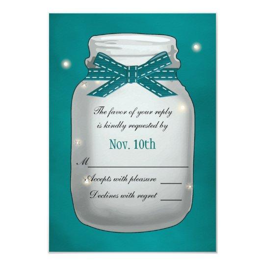 Teal Mason Jar with Fireflies RSVP Card