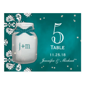Teal Mason Jar with Fireflies Table Number Cards