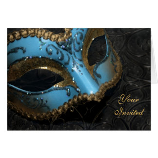 Teal Masquerade Mask Invitation Card