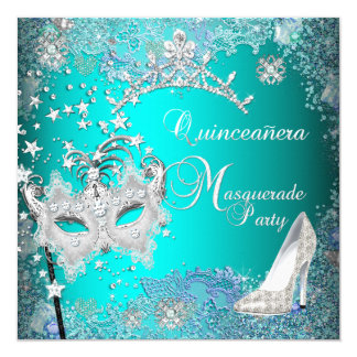 Teal Masquerade Quinceanera 15th Party Tiara Shoe 5.25x5.25 Square Paper Invitation Card