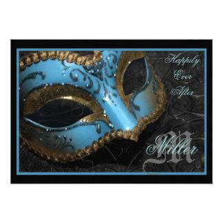 Teal Masquerade Renaissance Wedding Invitation