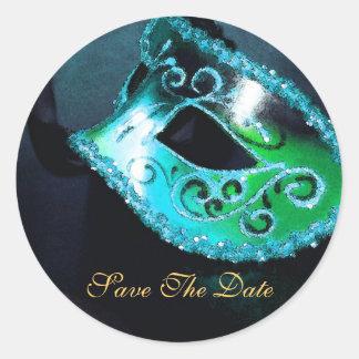 Teal Masqurade Mask Elegant Save The Date Sticker