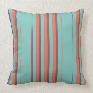 Teal Melon Rust Varied Stripes Throw Pillow