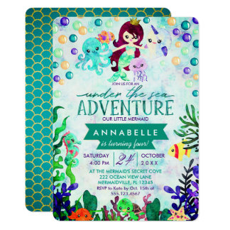 Teal Mermaid Theme Birthday Party Invitations