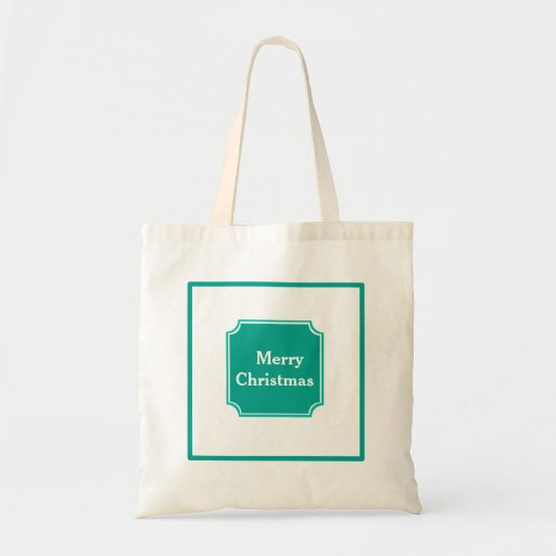Teal Merry Christmas Holiday Shopping Tote Bag