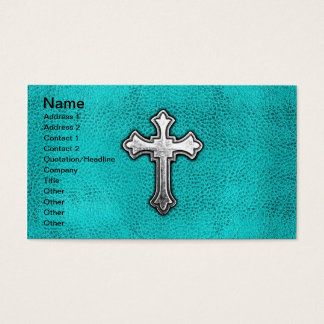 Teal Metal Cross Business Card
