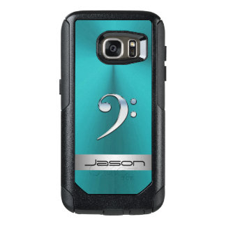 Teal Metal With SIlver Music Bass Clef Galaxy Case