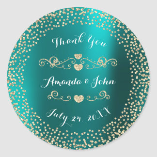 Teal Metallic Glitter Save the Date Thank You Round Sticker