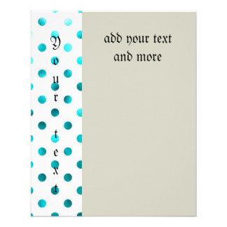 "Teal metallic,polka dot,white,girly,trendy,cute, 4.5"" x 5.6"" flyer"