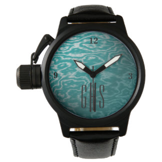 Teal Metallic Waters Watch with 3-Initial Monogram