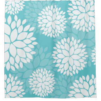 Teal Mint Floral Pattern Shower Curtain