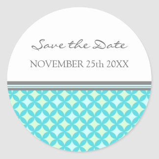 Teal Mint Gray Save the Date Envelope Seal Round Sticker