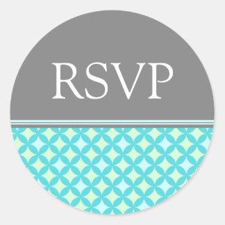 Teal Mint Grey Wedding RSVP Envelope Seals Round Sticker