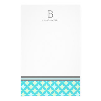 Teal Mint White Wedding Monogram Stationery