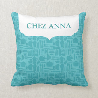 Teal Modern Kitchenware and Name Pillow