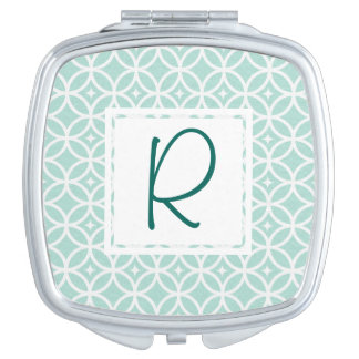 Teal Monogram Abstract Pattern Makeup Mirrors