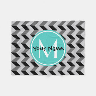 Teal Monogram Black and Gray Chevron Pattern Fleece Blanket