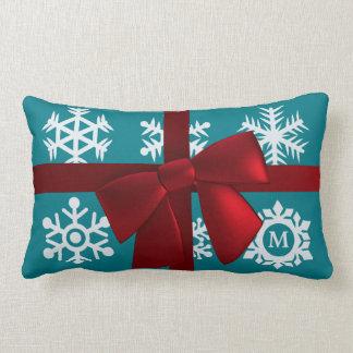 Teal Monogram Christmas Gift Red Bow Lumbar Lumbar Pillow