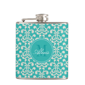 Teal Monogram Damask Flask