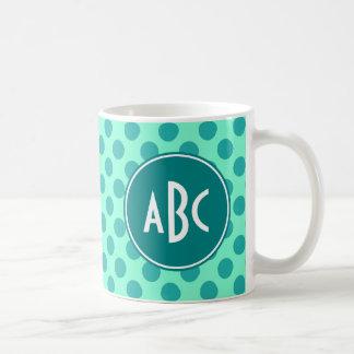 Teal Monogram Green Polka Dot Coffee Mug