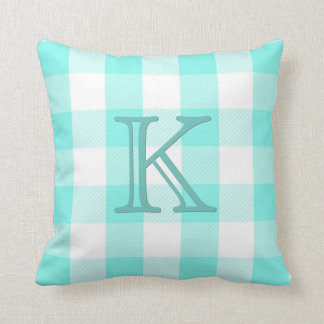 Teal Monogram Preppy Buffalo Check Plaid Cushion