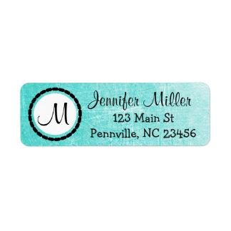 Teal Monogrammed Return Address Labels