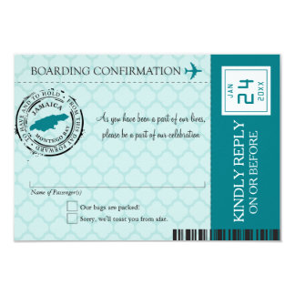 Teal Montego Bay Jamaica RSVP 9 Cm X 13 Cm Invitation Card