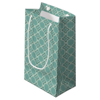 Teal Moroccan Lattice Pattern Small Gift Bag