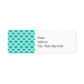 Teal Moroccan Pattern Return Address Label