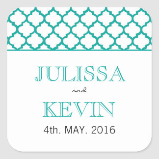 Teal Moroccan Pattern Wedding Sticker