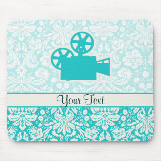 Teal Movie Camera Mouse Pad