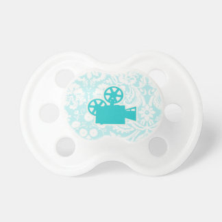 Teal Movie Camera Baby Pacifiers