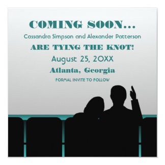 Teal Movie Theater Save the Date 13 Cm X 13 Cm Square Invitation Card