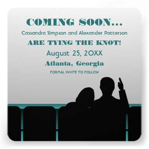 Teal Movie Theater Save the Date Invite