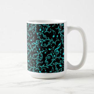 Teal Music Note Pattern Coffee Mug
