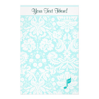 Teal Music Note Custom Stationery