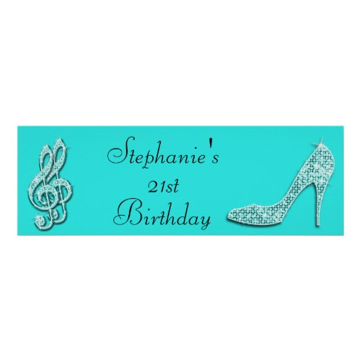 Teal Music Notes And Stiletto 21st Birthday Poster