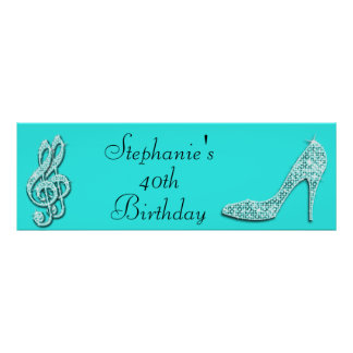 Teal Music Notes and Stiletto 40th Birthday Print