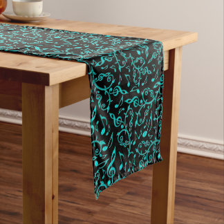 Teal Music Notes Pattern Table Runner