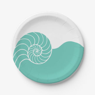 Teal Nautilus Sea Shell Paper Plate