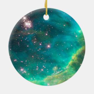 Teal Nebula Round Ornament #4