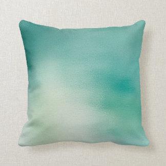 Teal Ocean Mint Yellow Glass Ombre Metallic Pillow