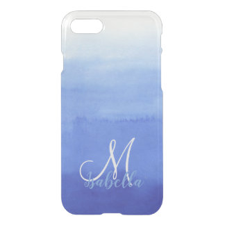 Teal Ocean Ombre Blush Texture Monogram iPhone 8/7 Case