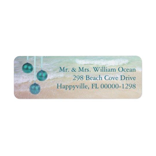 Teal Ocean Tropical Christmas Return Address Return Address Label