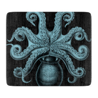 Teal Octopus on Cutting Board